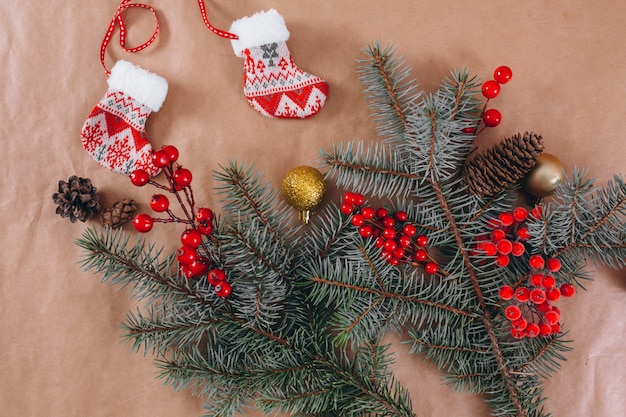 Christmas background layout on craft paper background