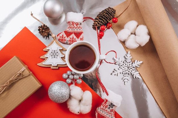 Christmas background layout on red background