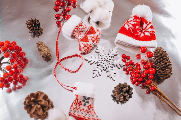 Christmas background layout on silver background