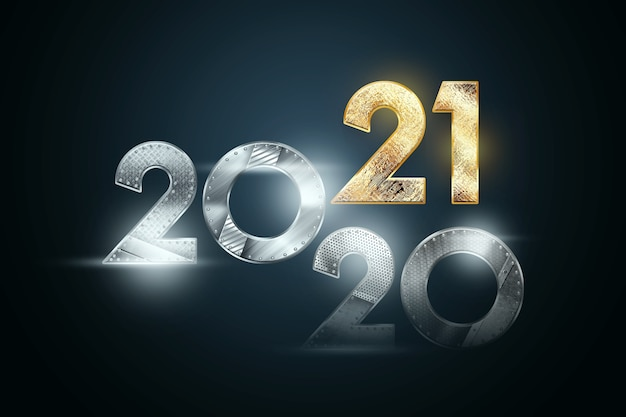 Christmas background lettering 2021 in metal and gold numbers on a dark background.