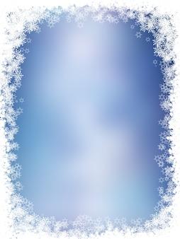 雪片と星のクリスマスの背景