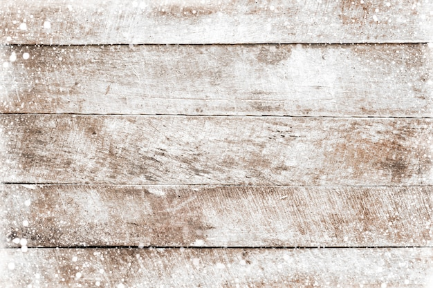 Christmas background  old white wood texture with snow. top view, border frame design. vintage and rustic style
