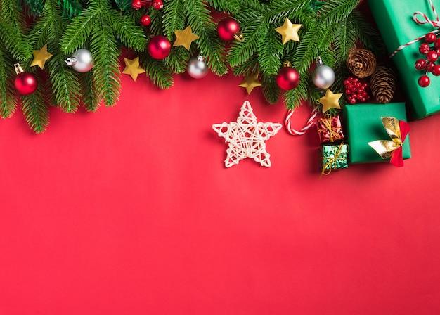크리스마스 배경 분기, 장식 선물 상자와 스타 인사말 카드 선물