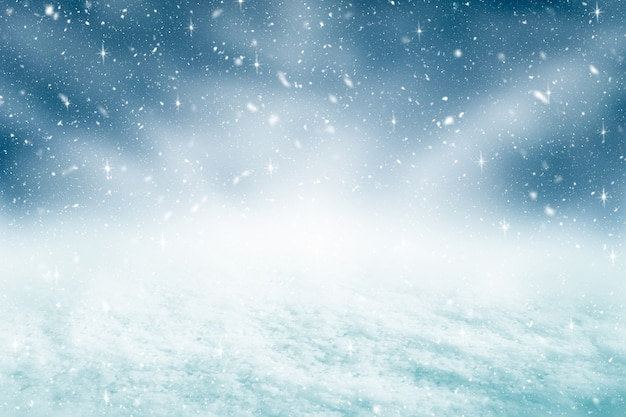 Christmas background and snowfall with glitter concept. merry christmas and happy new year backdrop.