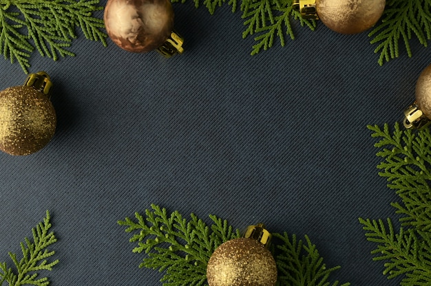 Christmas background template with frame of fir branches. flat lay, top view