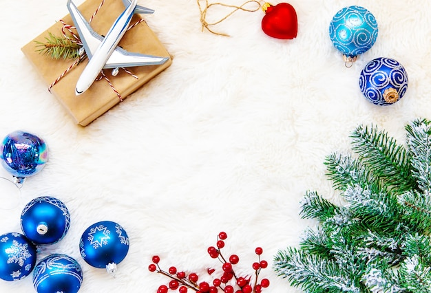Christmas background on the theme of travel.