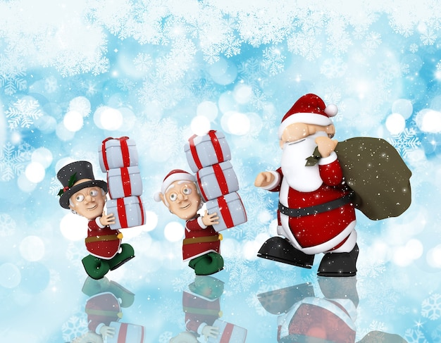 Christmas background with 3d render of santa and his helpers