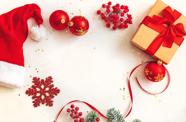Christmas background with beautiful decor. selective focus.