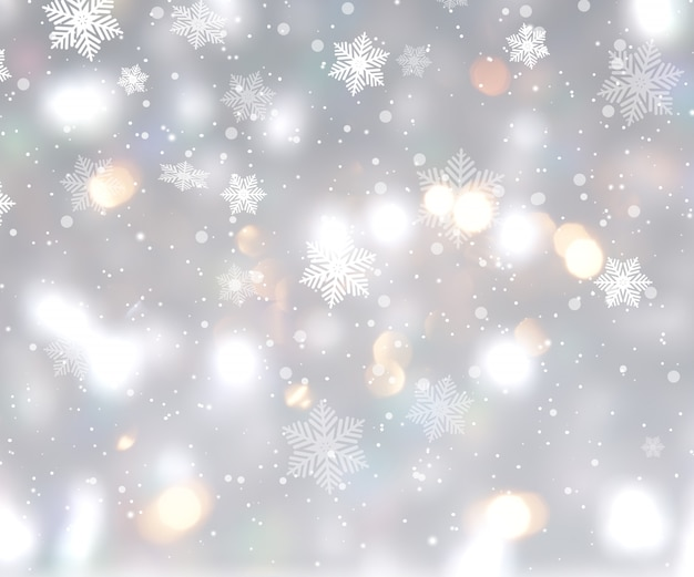Christmas background with bokeh lights and snowflakes