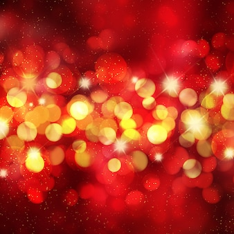 Christmas background with bokeh lights and stars
