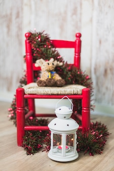Christmas background with chair