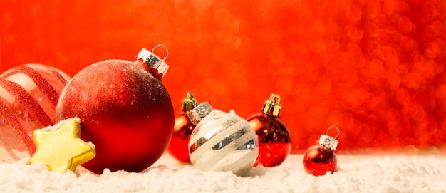 Christmas background with christmas balls, gifts and decoration