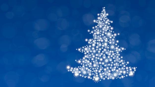 クリスマスツリーと青い背景の上のクリスマスの背景。