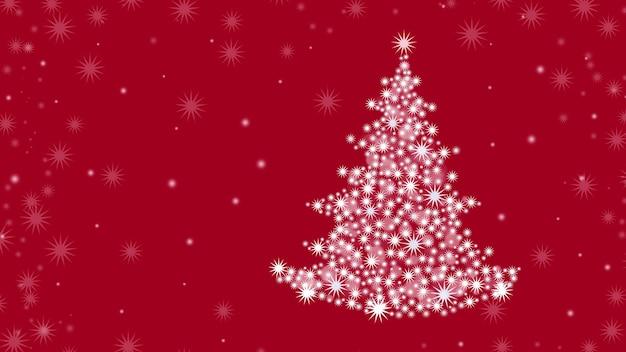 クリスマスツリーと赤い背景の上のクリスマスの背景。