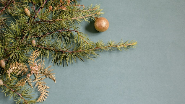 Christmas background with christmas tree branches and golden baubles