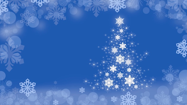 Christmas background with christmas tree and snowflakes around the edges on a blue
