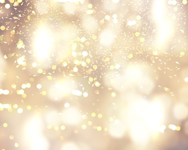 Christmas background with confetti and bokeh lights