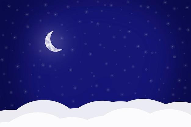 青い背景、ベクトルイラストに三日月とクリスマスの背景。