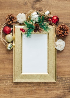 Christmas background with empty frame for text.