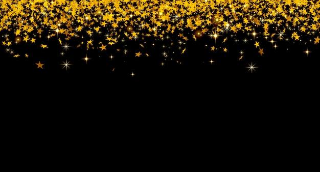 블랙에 노란색 별의 떨어지는 황금 색종이와 크리스마스 배경
