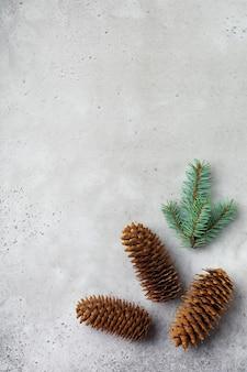 Новогодний фон с еловыми ветками и шишками на легкой бетонной старой фоновой таблице. выборочный фокус. вид сверху с копией пространства.