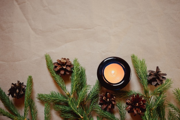 Christmas background with fir tree and candle