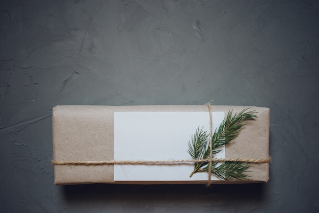 Christmas background with fir tree, gift box.