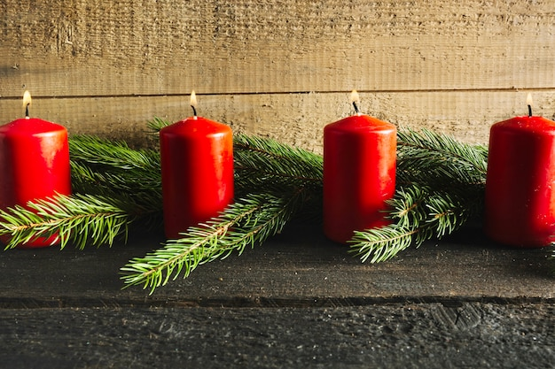 Christmas background with four candles