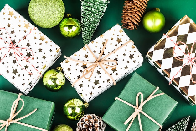 Christmas background with gift boxes,  preparation for holidays
