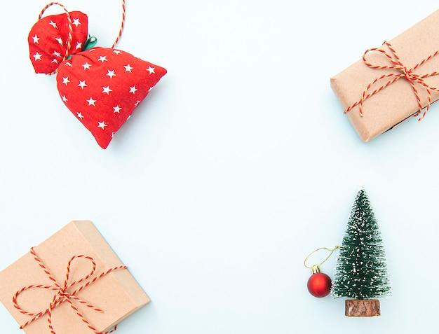 Christmas background with gift boxes and tree toy