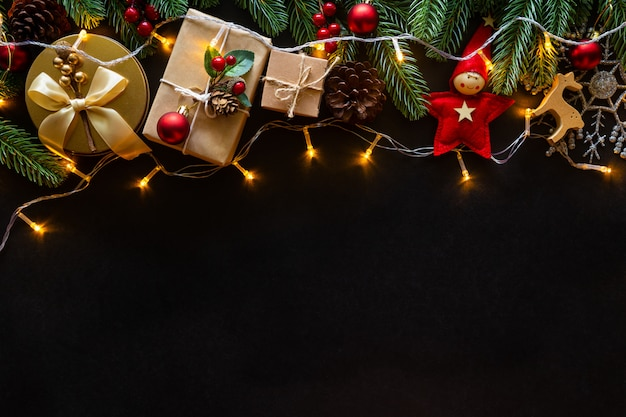 Christmas background with gifts and decorations