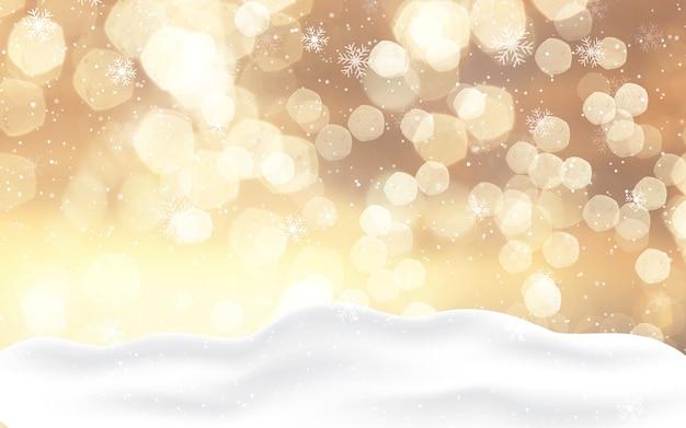 Новогодний фон с золотыми огнями боке и снегом