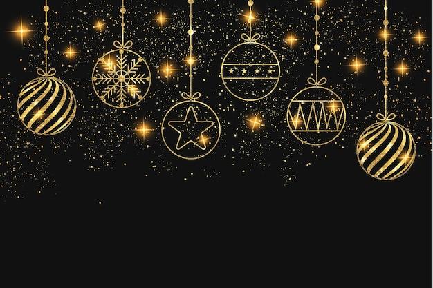 황금 크리스마스 아이콘으로 크리스마스 배경