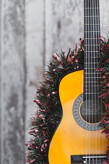 Christmas background with guitar