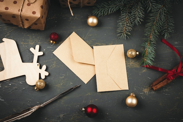 Christmas background with letters