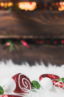 Christmas background with planks behind