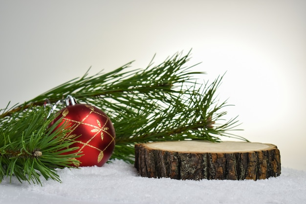 Christmas background with a podium for presentation of the product