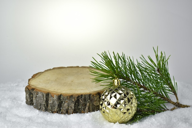 Christmas background with a podium