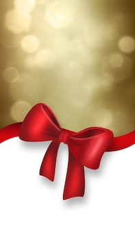 Рождественский фон с красным бантом на золотом фоне с эффектом боке