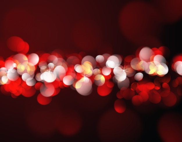 Christmas background with red and gold bokeh lights