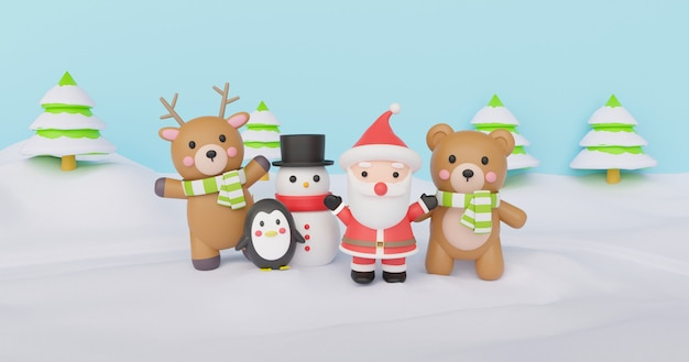Christmas background with santa clause and friends  standing on the snow. 3d rendering.