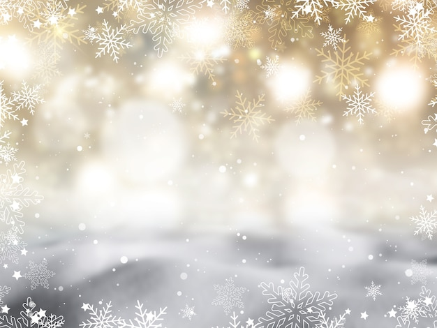 雪片と星のデザインとクリスマスの背景