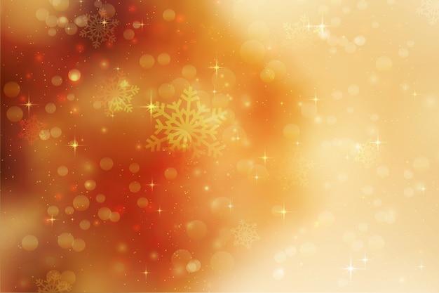 Новогодний фон со снежинками и звездами