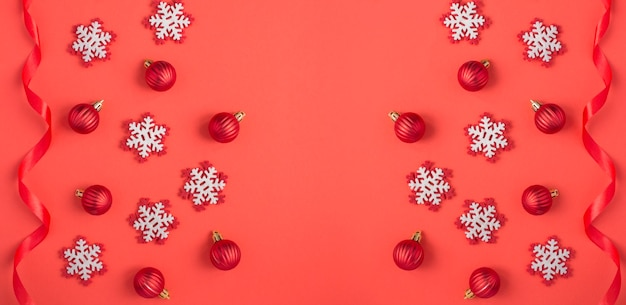 Christmas background with snowflakes, red balls and ribbon