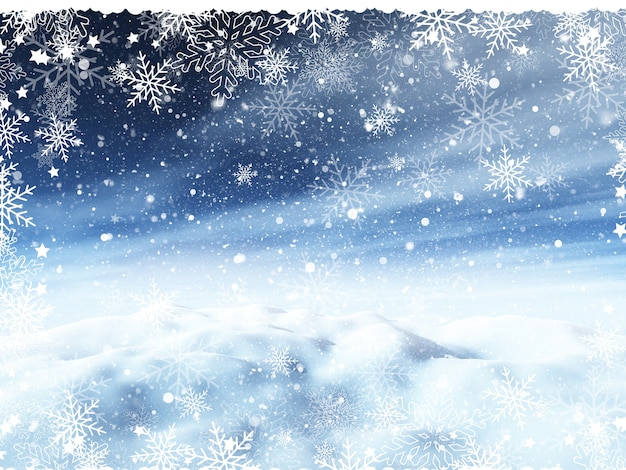 Christmas background with snowy landscape and snowflake border