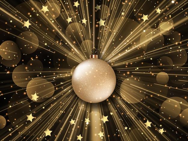 スターバースト、星、ボケ光のデザインとクリスマスの背景