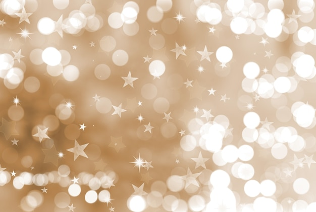 Christmas background with stars and bokeh lights