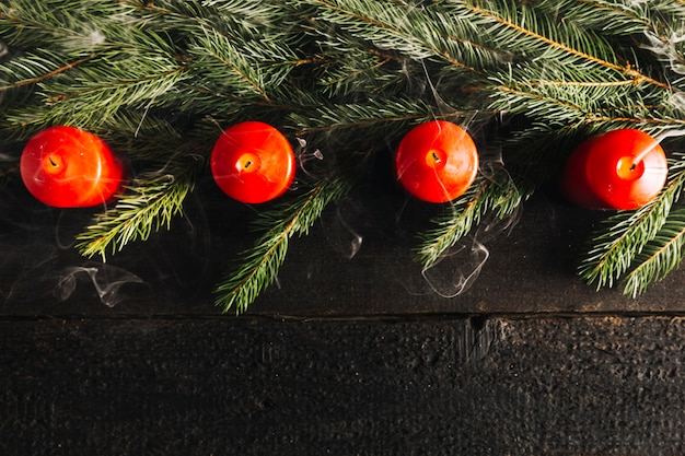 Christmas background with top view of four candles