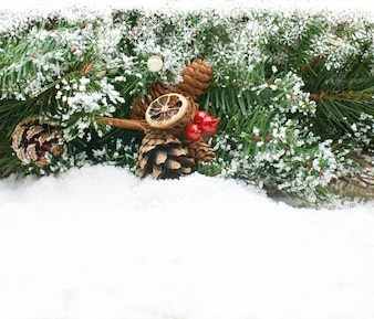 Christmas background with tree branch nestled in snow