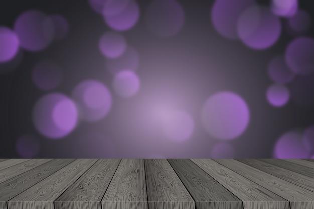 ボケの光を見渡す木製のテーブルとクリスマスの背景